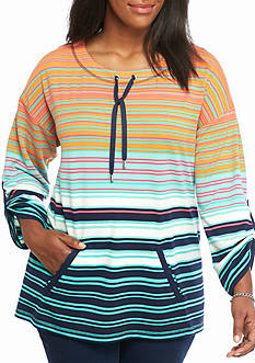 Ruby Rd Plus Size Fresh Start Stripe Pullover