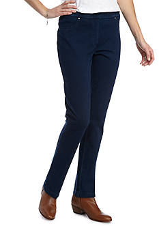 Ruby Rd Petite Fresh Start Pullover Knit Indigo Twill Pant