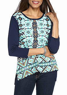 Ruby Rd Fresh Start Printed Crepe Three Quarter Sleeve