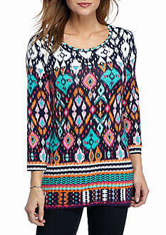 Ruby Rd Fresh Start Three Quarter Length Sleeve Embellished Scoop Neck Ikat Border Top