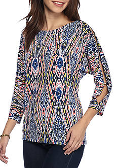 Ruby Rd Seaside Chic Three-quarter Cold Shoulder Top