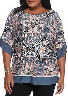 Ruby Rd Plus Size Prints Please Scoop Knit Top