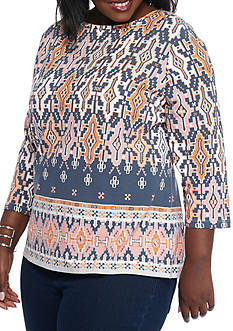 Ruby Rd Plus Size Ikat Border Boat Neck Knit Top