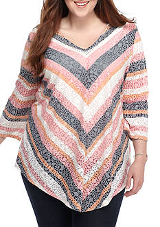 Ruby Rd Plus Size V-neck Burnout Knit Top