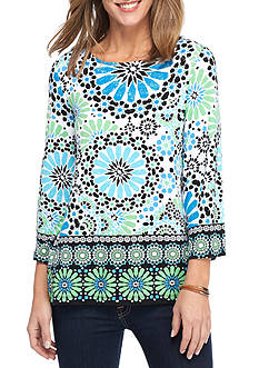 Ruby Rd Must Haves Three Quarter Sleeve Scoop Neck Floral Border