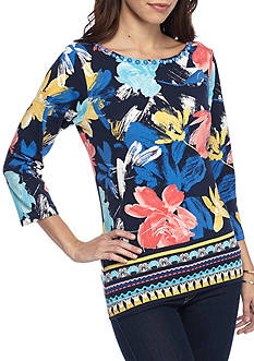 Ruby Rd Must Haves Embellished Boat Neck Border Print Top