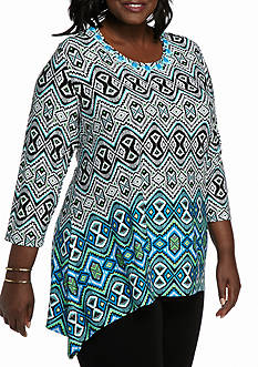 Ruby Rd Plus Size Must Have Shark-bite Border Knit Top