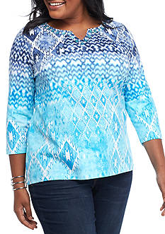 Ruby Rd Plus Size Must Have Printed Ikat Knit Top