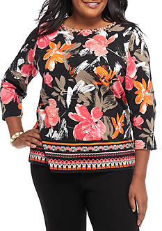 Ruby Rd Plus Size Must Have Floral Border Knit Top