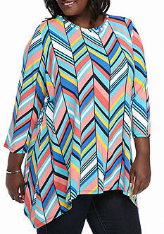 Ruby Rd Plus Size Must Have Chevron Sharkbite Knit Top