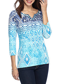 Ruby Rd Must Haves Three Quarter Sleeve Embellished Notch Neck Placeprint