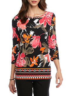 Ruby Rd Petite Must Haves Three Quarter Embellished Boat Neck Border Print
