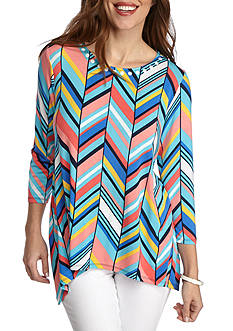 Ruby Rd Petite Must Have Chevron Sharkbite Knit Top