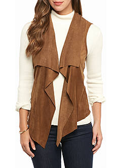 Ruby Rd Gypsy Caravan Faux Suede Vest with Fringe