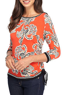Ruby Rd Gypsy Caravan Ruched Embroidered Knit Top