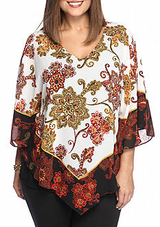 Ruby Rd Plus Size Gypsy Caravan V-Neck Woven Top