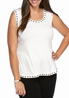 Ruby Rd Plus Size Must Have Embellished Scoop Knit Tank