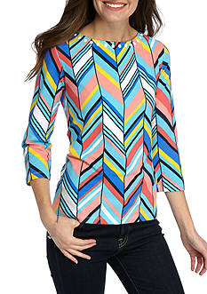 Ruby Rd Must Haves Athleisure Three Quarter Sleeve Embellished Boatneck Chevron Top