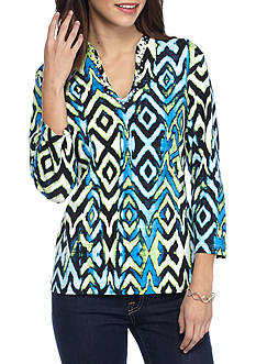 Ruby Rd Must Haves Three-quarter Sleeve Print Top