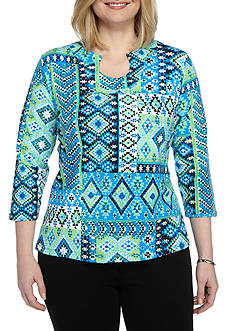 Ruby Rd Plus Size Must Have Patch Print Knit Top