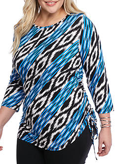 Ruby Rd Plus Must Haves Ribbon Ikat Side Ruch Knit Top