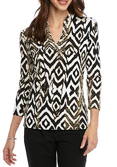 Ruby Rd Petite Must Haves Three Quarter Sleeve Embellished Funnel Neck Print