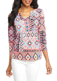 Ruby Rd Petite Must Haves Patch Print Knit Top