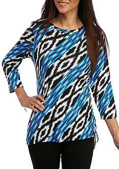 Ruby Rd Petite Must Haves Three Quarter Sleeve Boat Neck Side Ruch Ikat Print Top