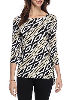 Ruby Rd Petite Must Haves Three Quarter Sleeve Boat Neck Side Rouche Ikat Print