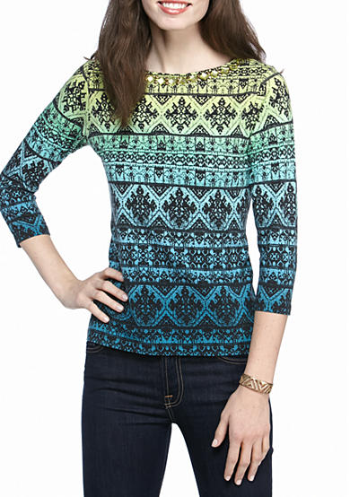 Ruby Rd Must Haves Embellished Ombre Border Knit Top