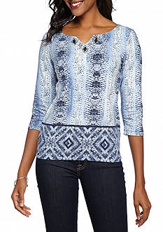 Ruby Rd Must Have Embellished Python Print Knit Top
