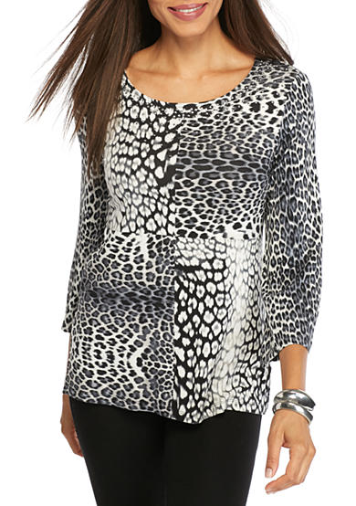 Ruby Rd Must Have Embellished Leopard Print Knit