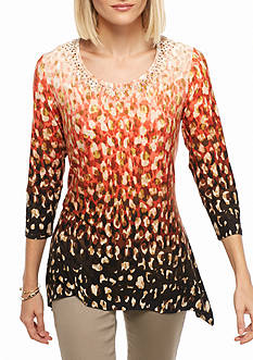Ruby Rd Embellished Cheetah Ombre Knit Top