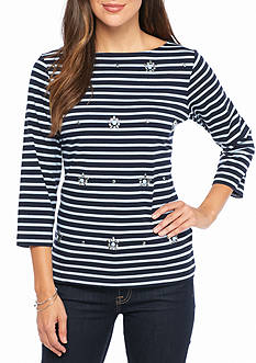 Ruby Rd Must Have Embellished Stripe Knit Top