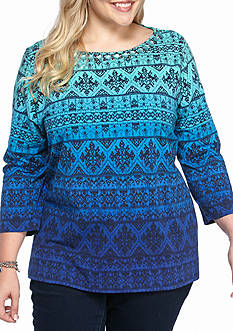 Ruby Rd Plus Size Embellished Ombre Ikat Top