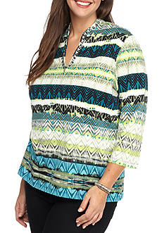 Ruby Rd Plus Size Must Haves Embellished Funnel Neck Ikat Top