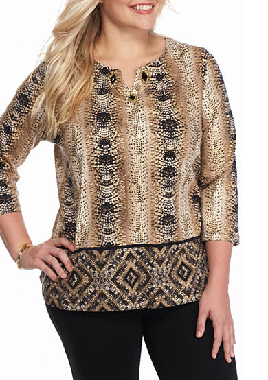 Ruby Rd Plus Size Must Haves Embellished Split Neck Top