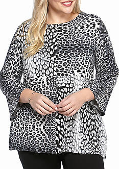Ruby Rd Plus Size Must Have Embellished Scoop Neck Leopard Knit Top