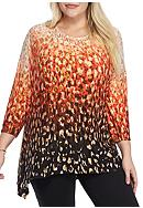 Ruby Rd Plus Size Must Haves Cheetah Sharkbite Top
