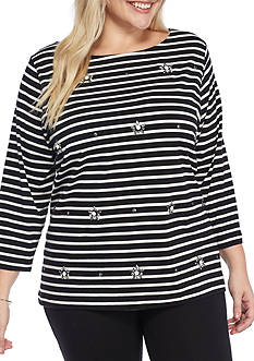 Ruby Rd Plus Size Must Have Jeweled Stripe Tee