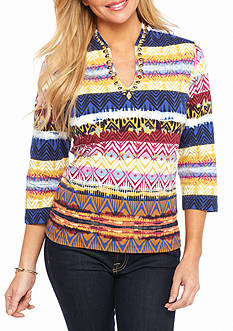 Ruby Rd Petite Must Have Embellished Funnel Ikat Knit Top