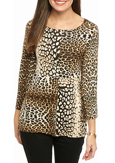 Ruby Rd Must Haves Embellished Leopard Print Knit Top