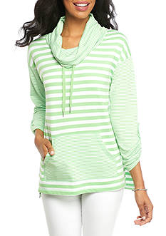 Ruby Rd Must Haves Athleisure Three Quarter Roll-Tab Sleeve Cowl Neck Pull On Stripe Combo