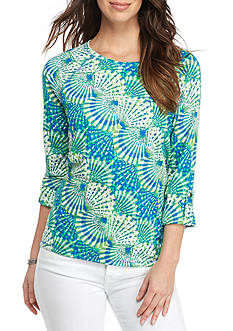 Ruby Rd Must Haves Three Quarter Sleeve Jewel Neck Hi Low Shell Print