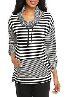 Ruby Rd Petite Must Haves Athleisure Three Quarter Roll-Tab Sleeve Cowl Neck Pull On Stripe Combo Top