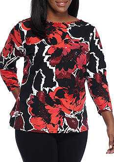 Ruby Rd Plus Size Must Haves Boat Neck Floral Top