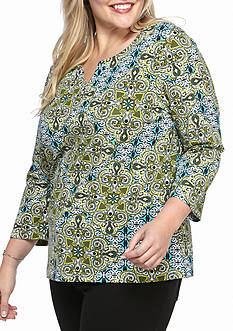 Ruby Rd Plus Size Medallion Printed Knit Top
