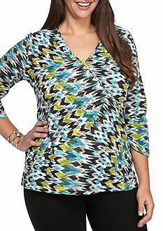 Ruby Rd Plus Size Must Have Arrow Surplus Printed Knit Top