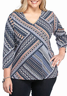 Ruby Rd Plus Size Must Have Embellished ZigZag Geo Top