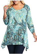 Ruby Rd Must Have Paisley Sharkbite hem Knit Top
